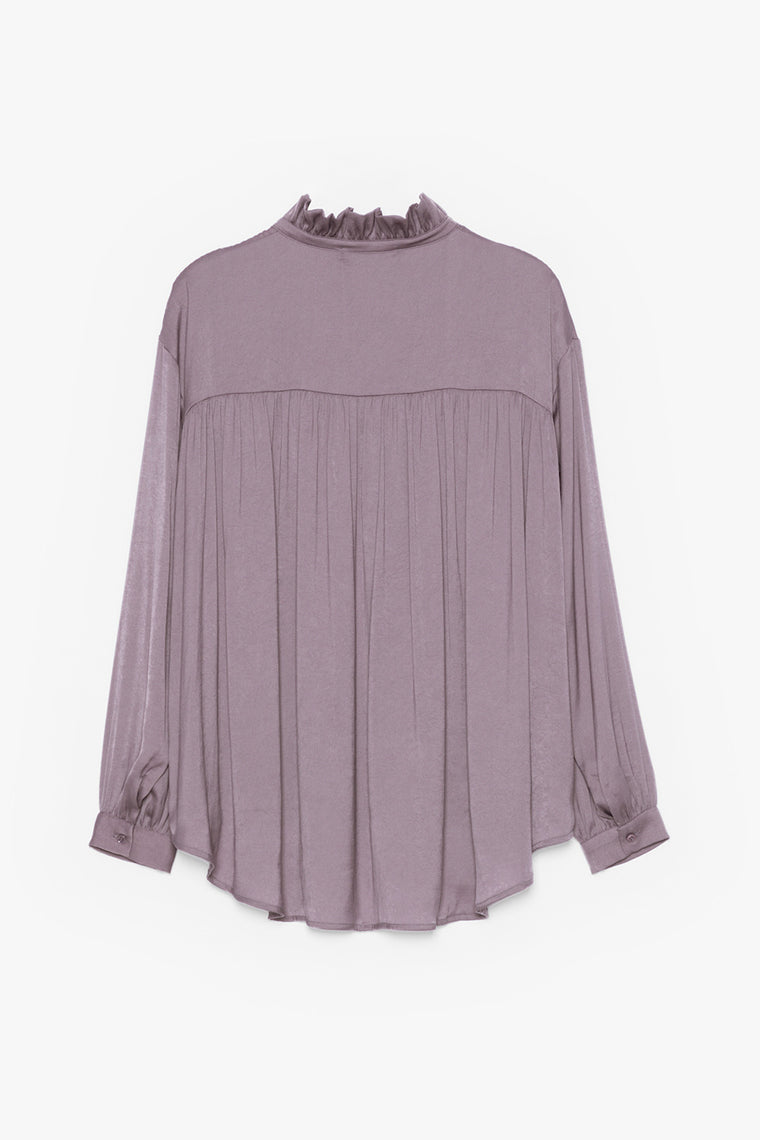 Pleated Tie-Collar Blouse
