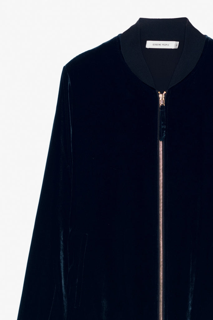 Velvet Silk Blend Long Zipper Jacket