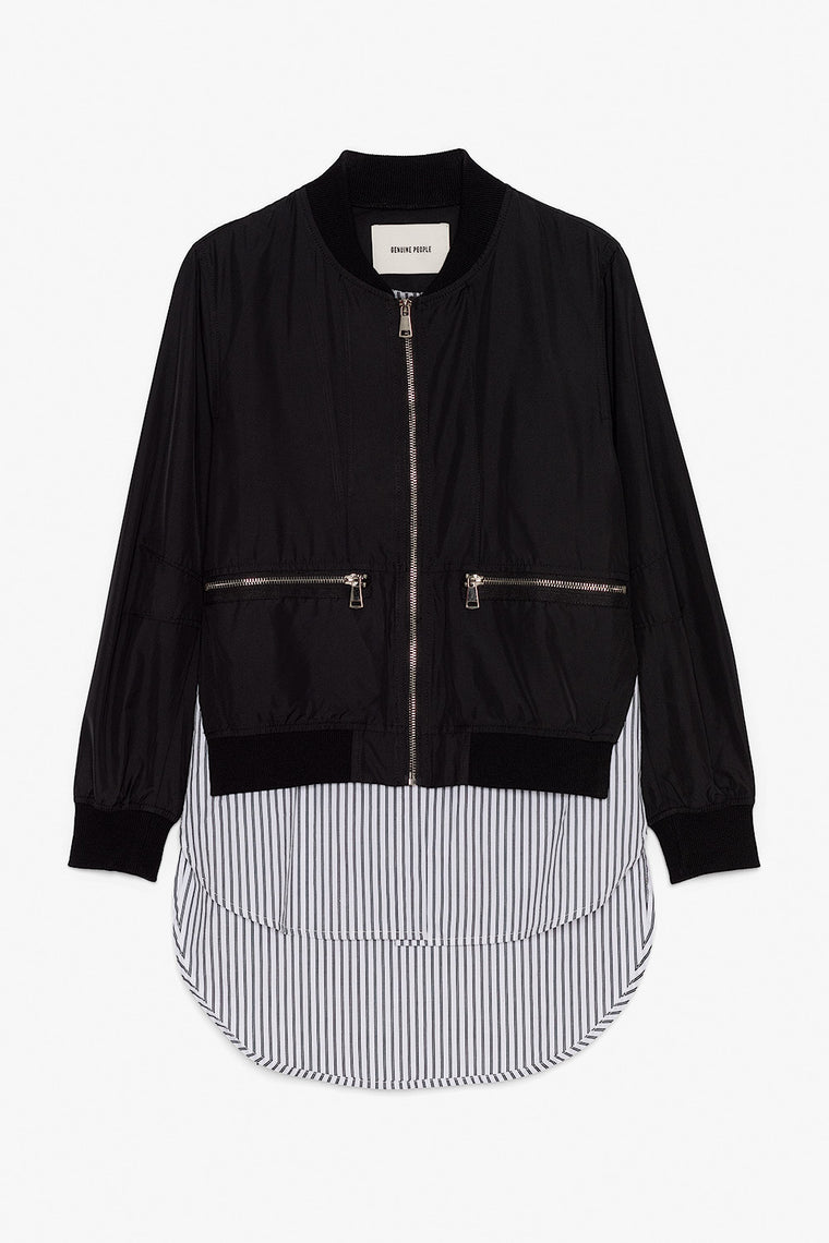 Cotton Bomber Jacket with Built in Shirt