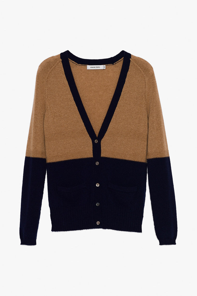 Lightweight Tan-Navy Cashmere Cardigan