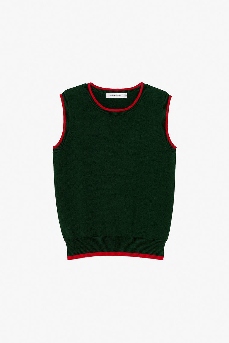 Crew Neck Two Tone Knit Tank