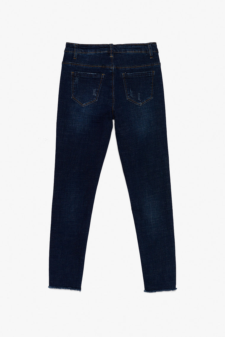 Distressed Cotton Stretch Jeans