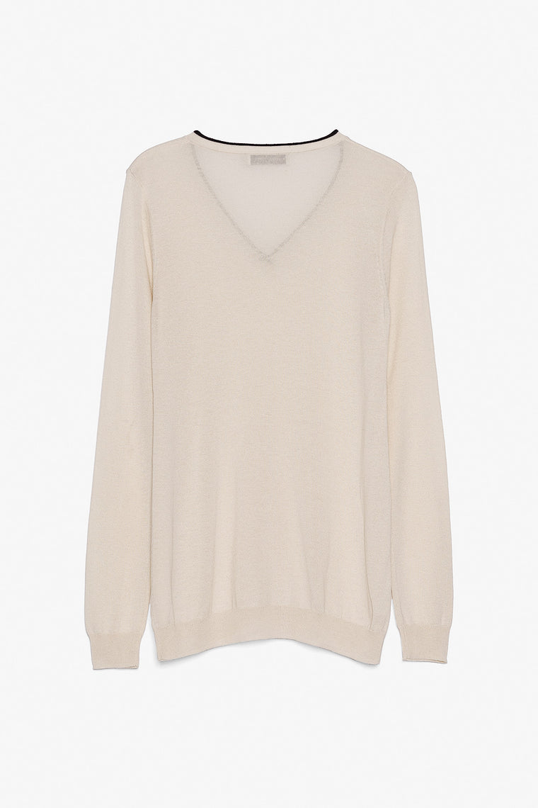 Lightweight Silk Cashmere V Neck Sweater