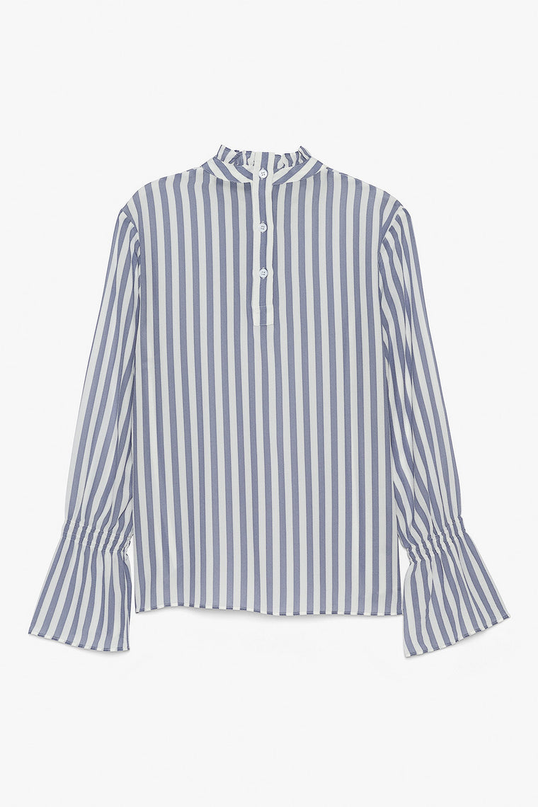 Silk Striped Bell Sleeve Blouse