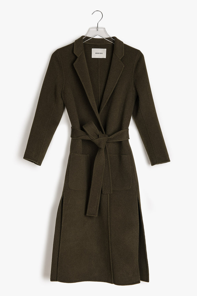 Side Slits Wrap Wool Coat