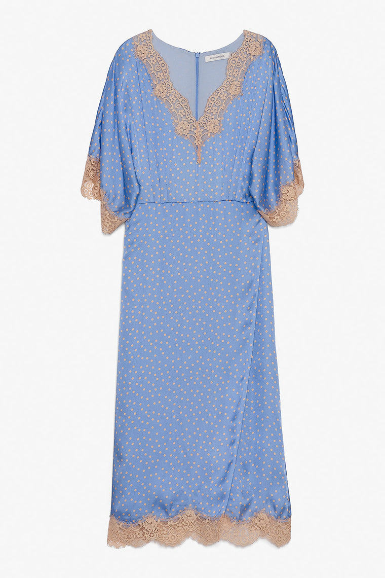 Lace V Neck Silk Dress