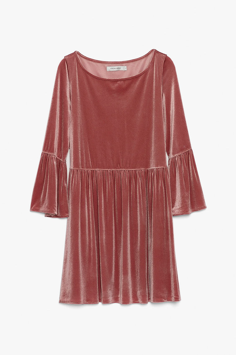 Bell Sleeve Velvet Stretch Mini Dress