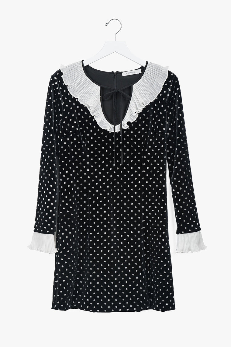 Polka Dot Ruffle Velvet Dress