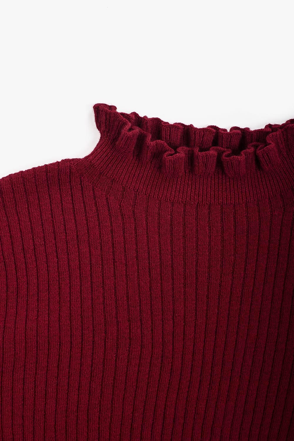 Lightweight Wool Ruffle Turtleneck