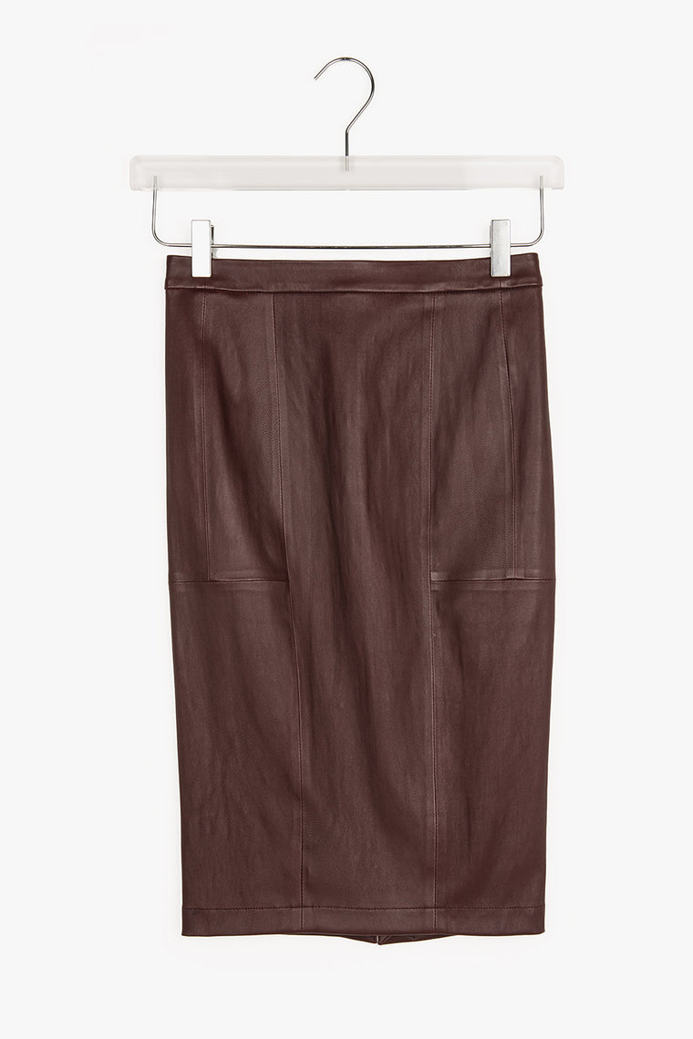 A Line Leather Midi Skirt