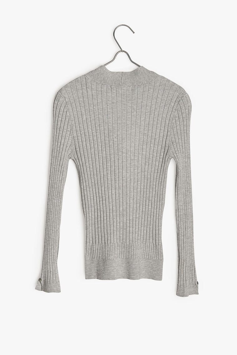 Bow Tie Ribbed Knit Shirt