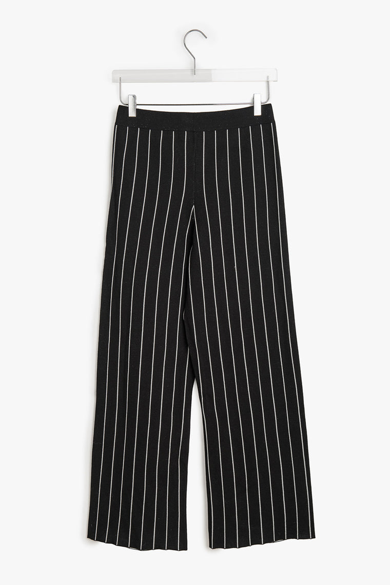 Wide Leg Cotton Blend Striped Pants