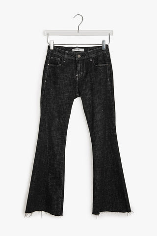 Mid Rise Bell Bottom Crop Jeans
