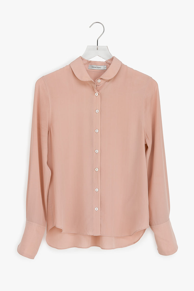 Silk Round Collar Button Down Blouse