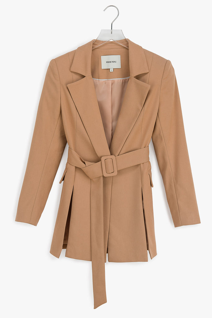 Belted Cotton Blend Blazer