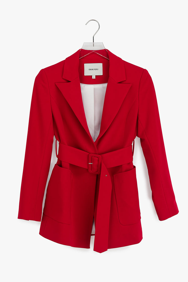Belted Cotton Stretch Blazer