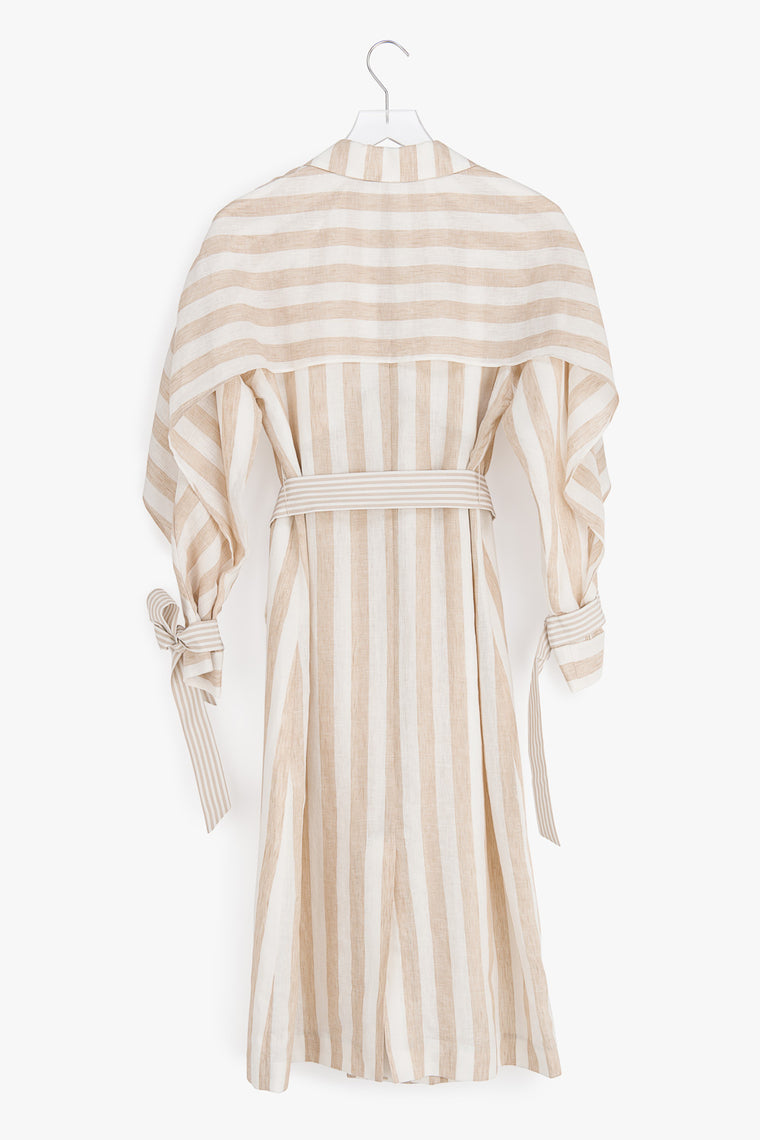 Lightweight Striped Linen Trench Coat
