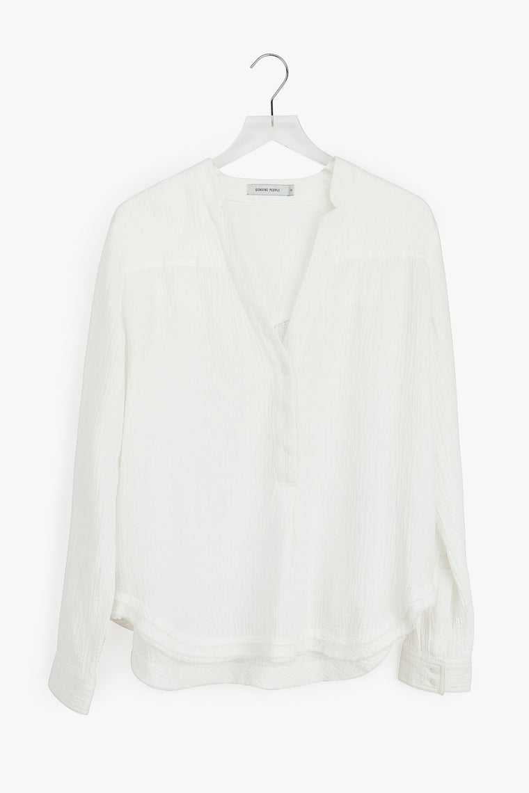 Oversized V-Neck Cotton Blouse