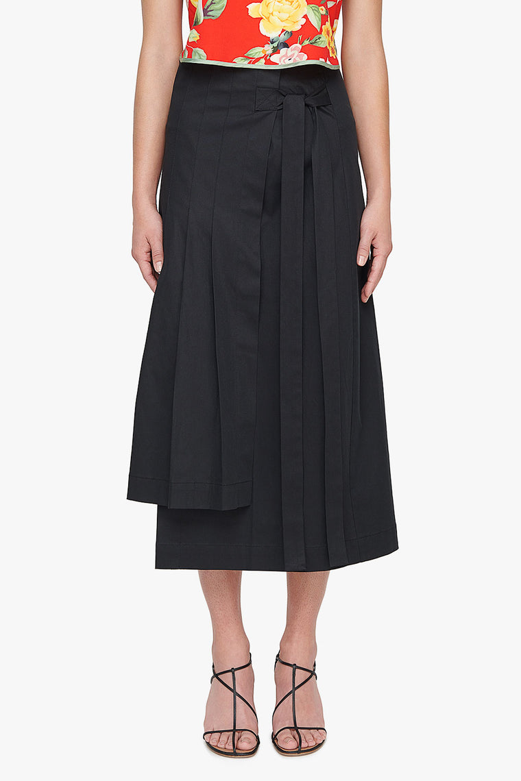Cotton Stretch Pleated Wrap Skirt