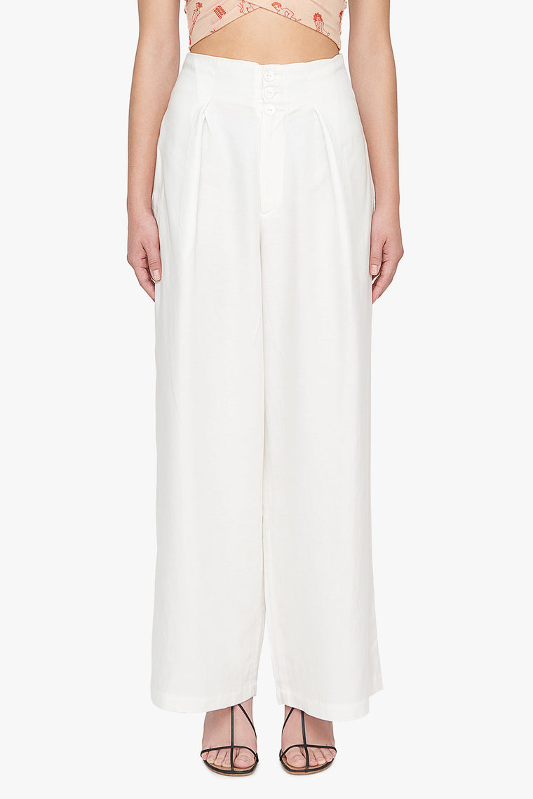 Cotton Linen Blend Wide Leg Trousers