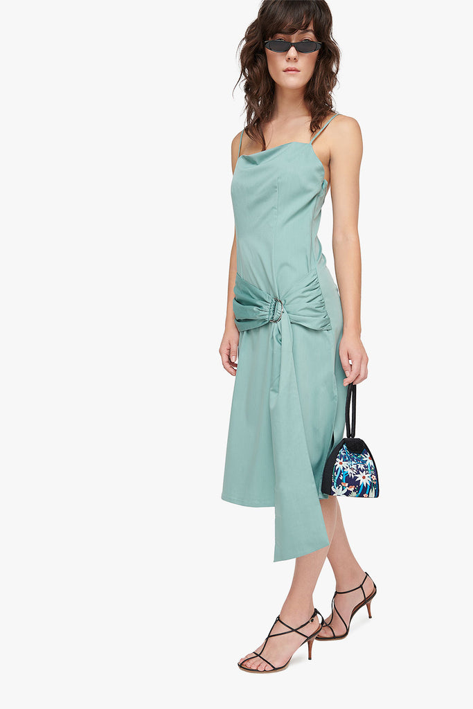 Cotton Blend Wrap Dress
