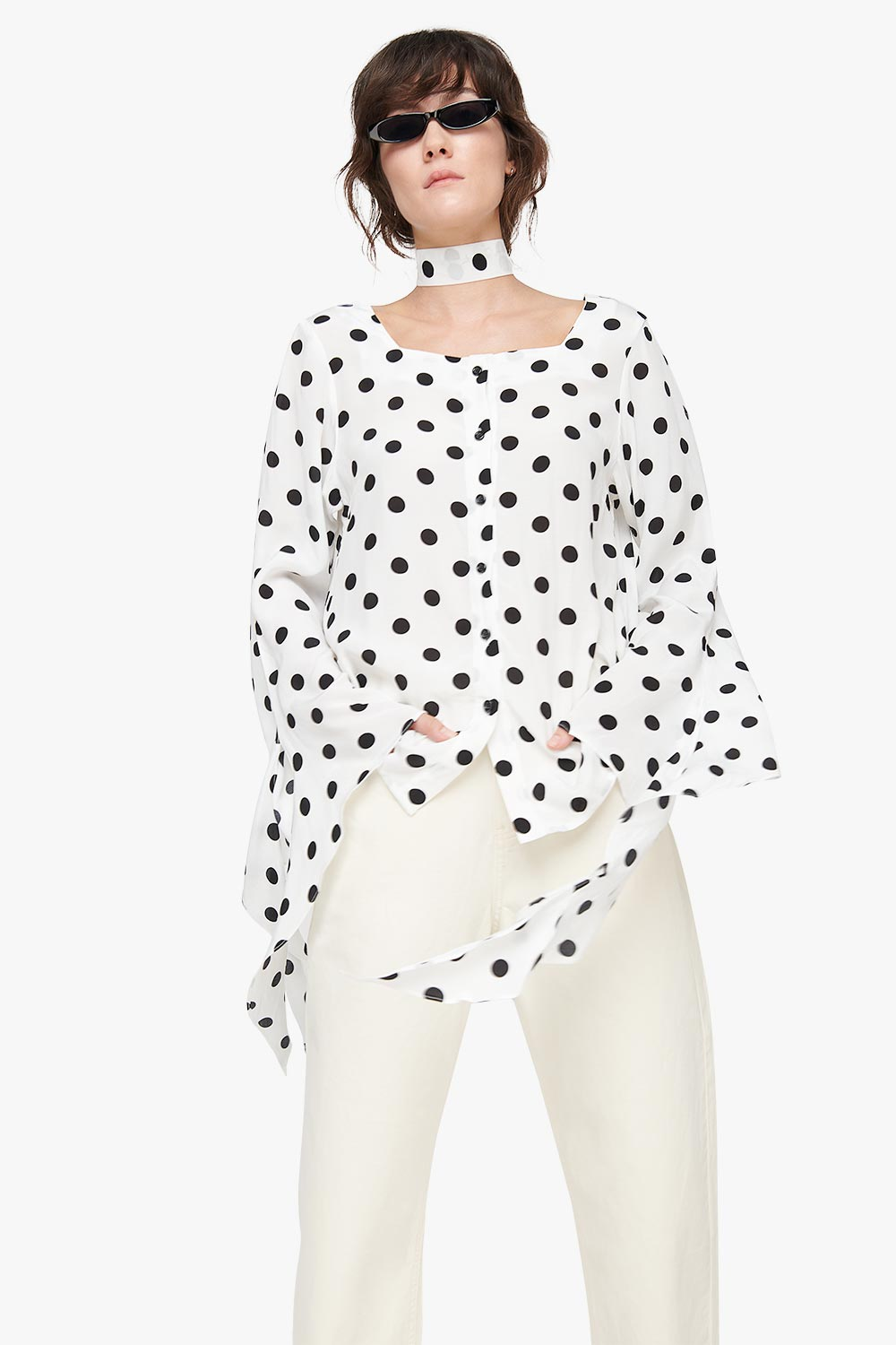 Square Neck Polka Dot Blouse