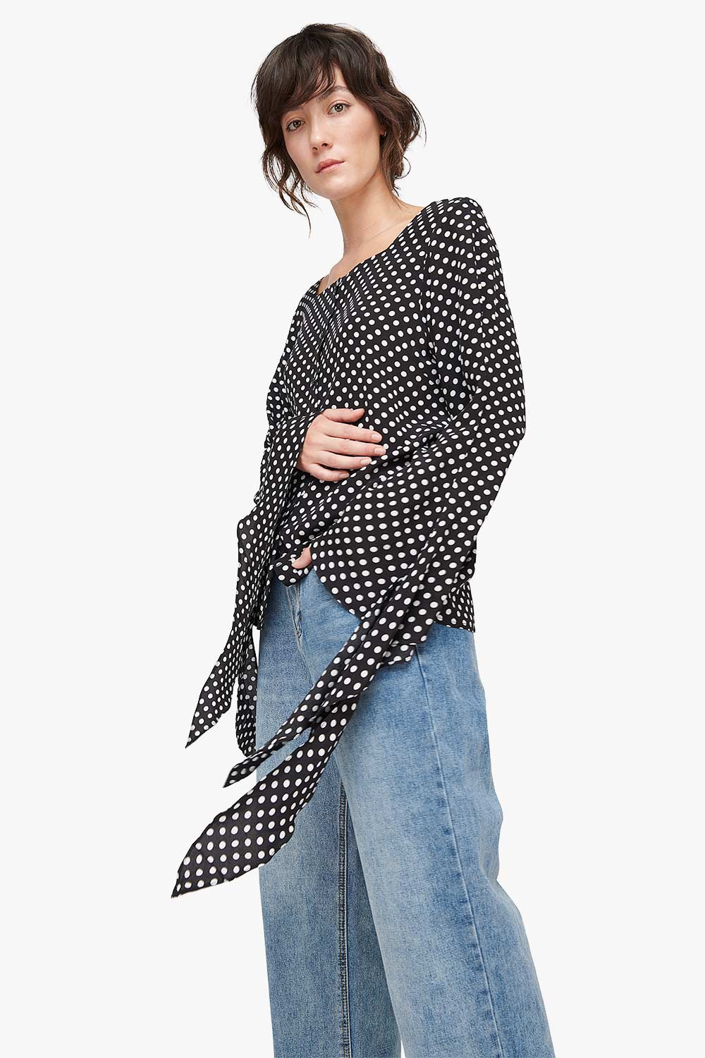 Square Neck Polka Dot Shirt