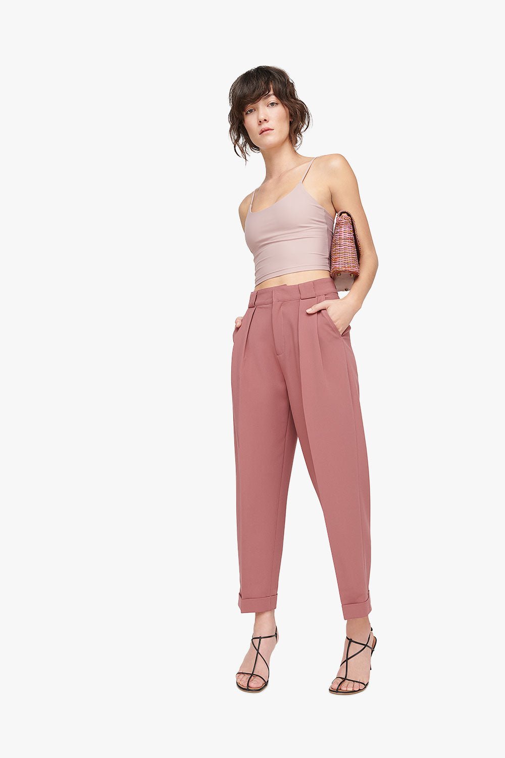 High Waist Pleated Cuffed Pants