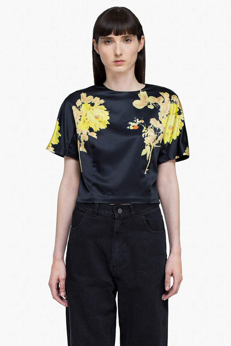 Silky Floral Crop Blouse