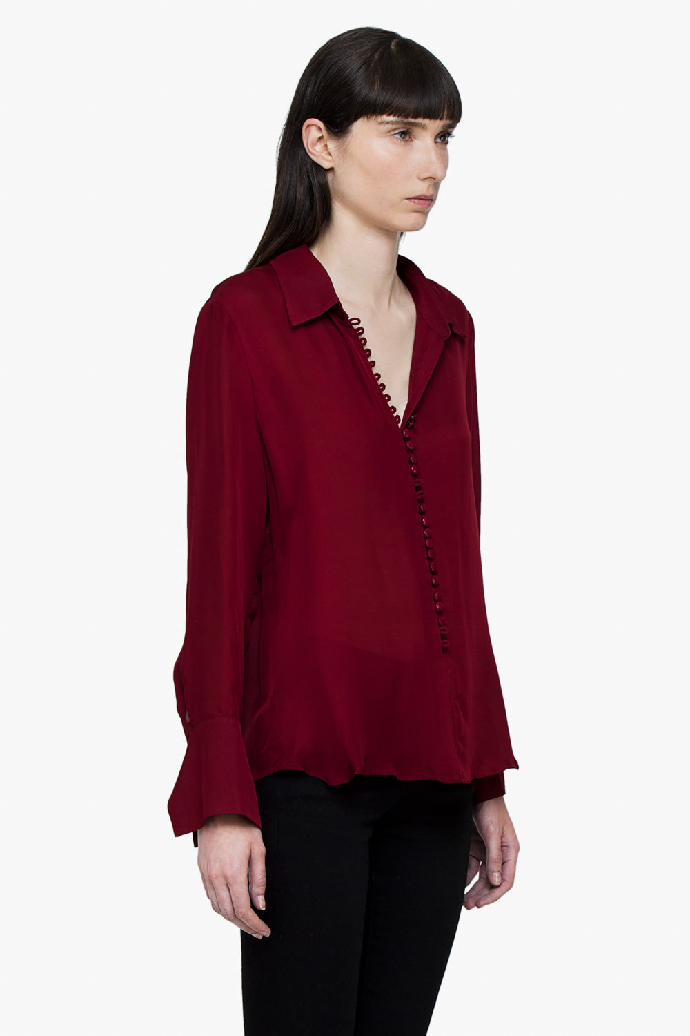 Burgundy Silk Button Shirt
