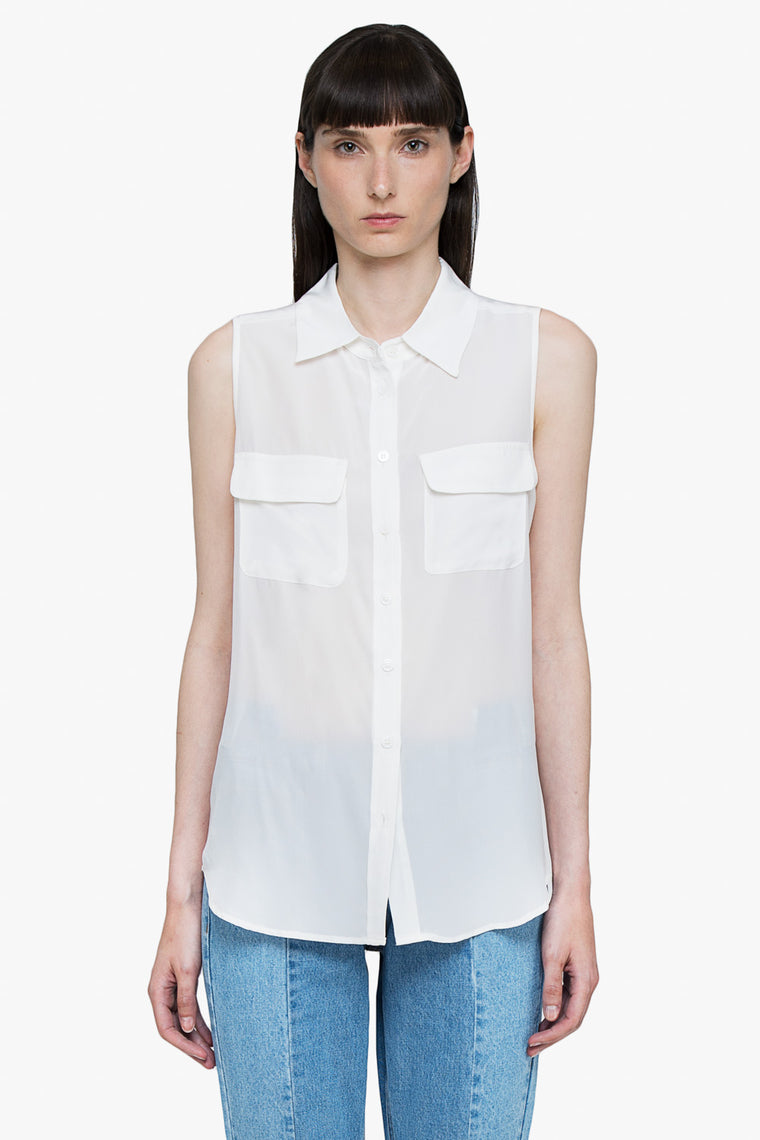 Silk Sleeveless Button Down Shirt