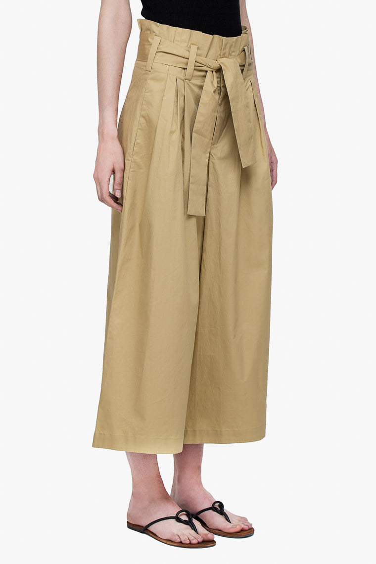 Cotton Pleat Wide Leg Belted Pants