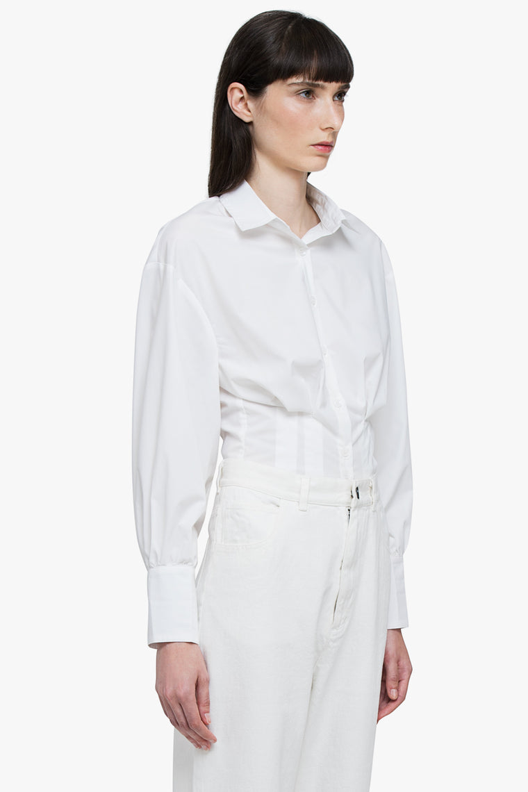 Cotton Button Up Corset Waist Shirt