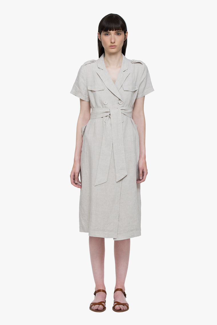 Linen Double Breasted Midi Dress