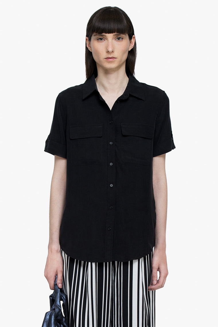 Silk Short Sleeve Button Shirt