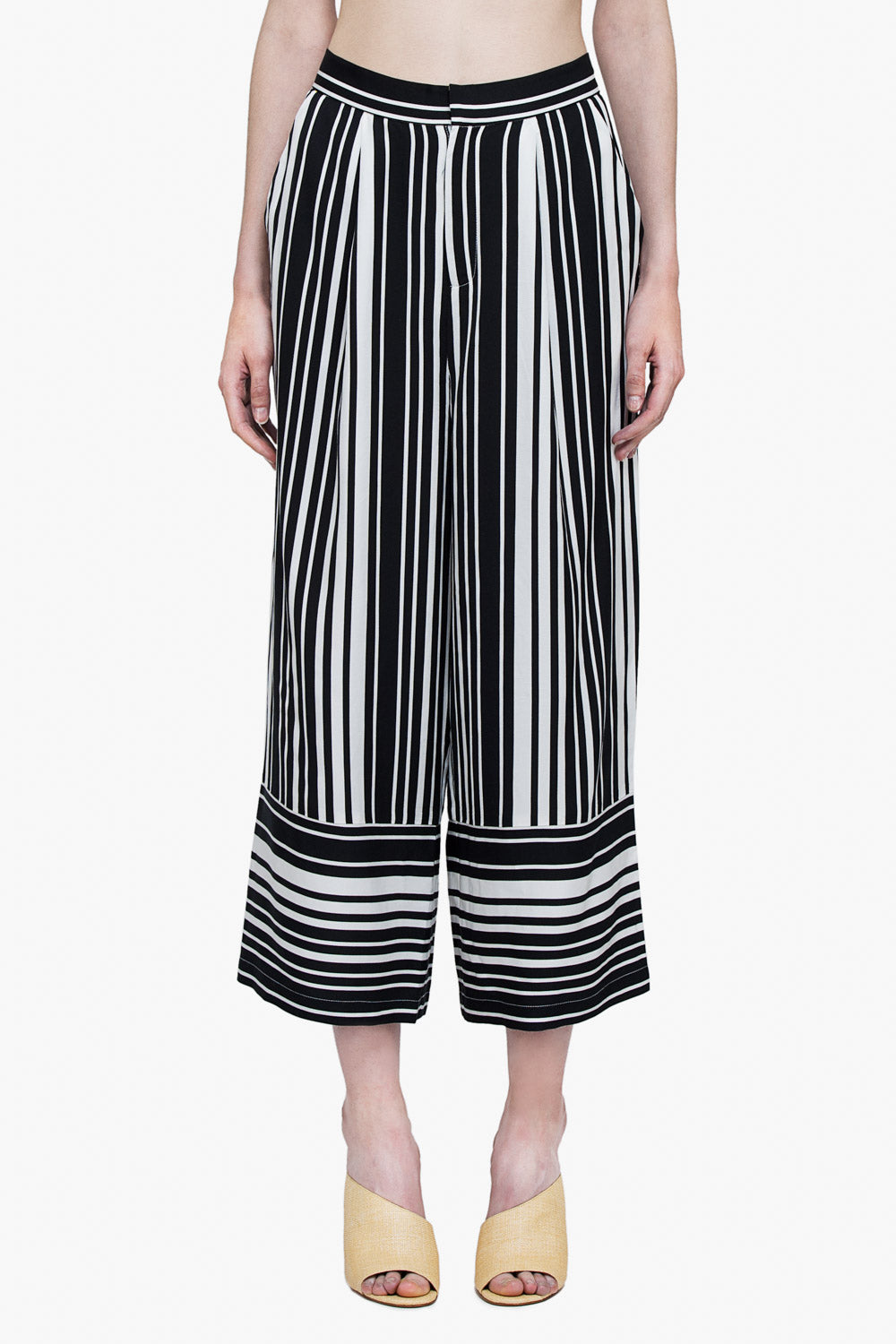 High Rise Lightweight Striped Pants