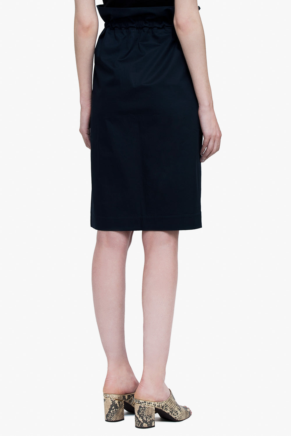 Cinched High Waist Cotton Skirt