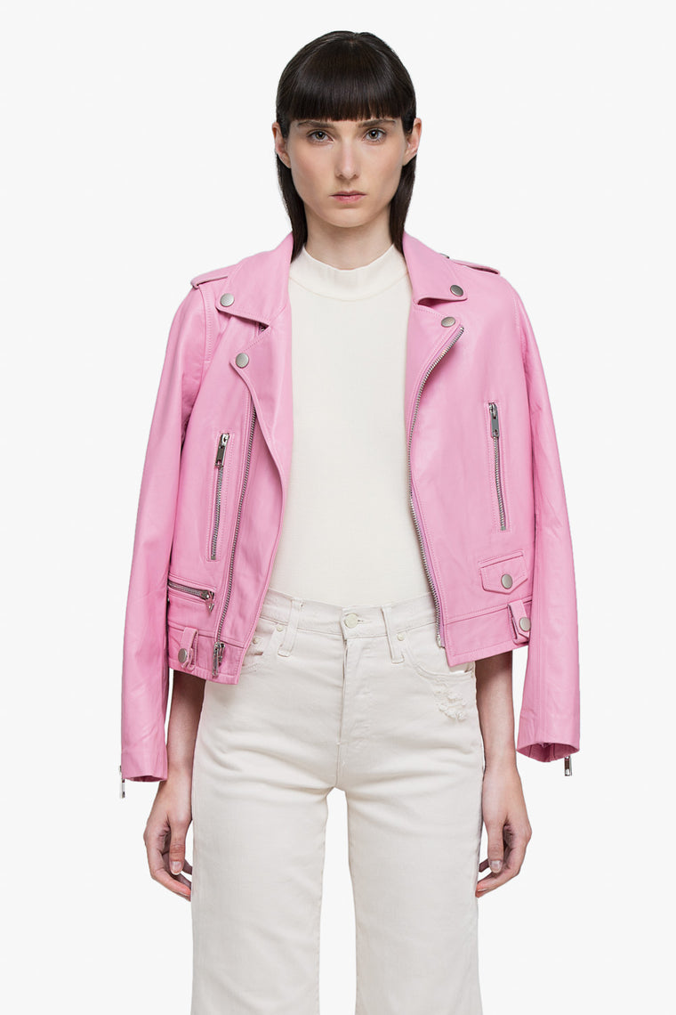 Leather Moto Jacket in Pink