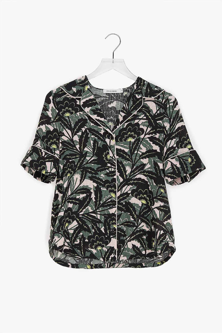 Button Down Palm Frawn Blouse