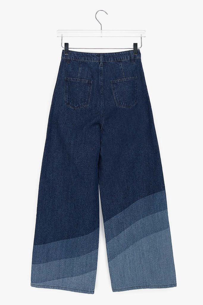 Wide Leg Rinsed Cotton Wave Jeans
