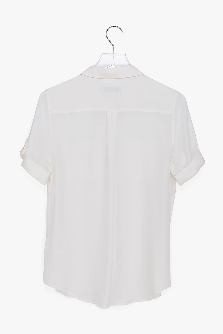 Silk Short Sleeve Button Down Shirt