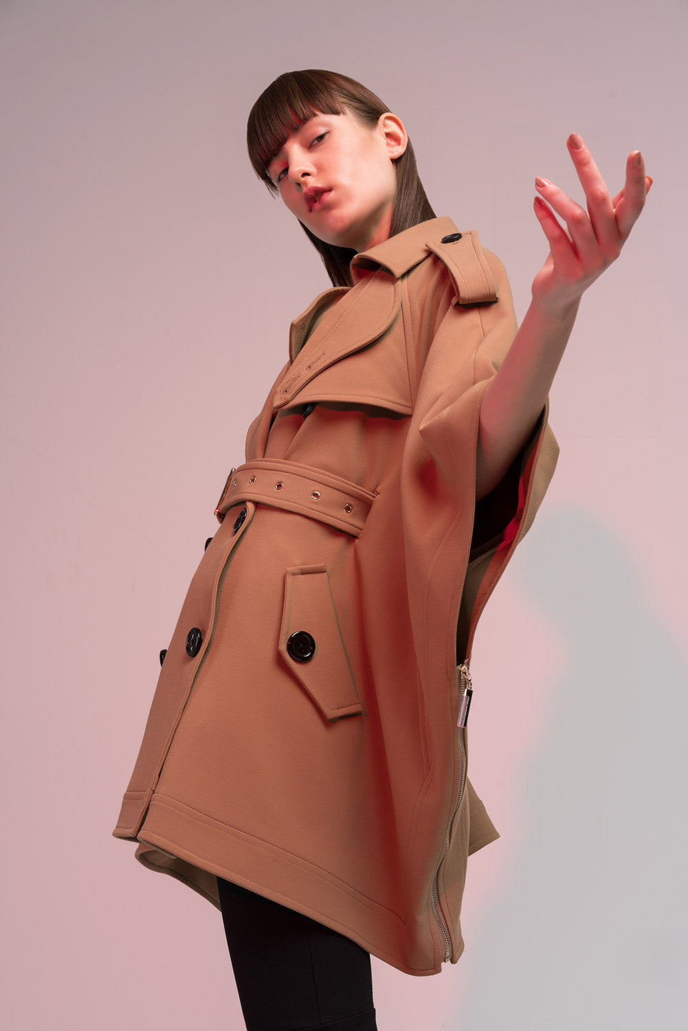 Belted Cape Trench Coat