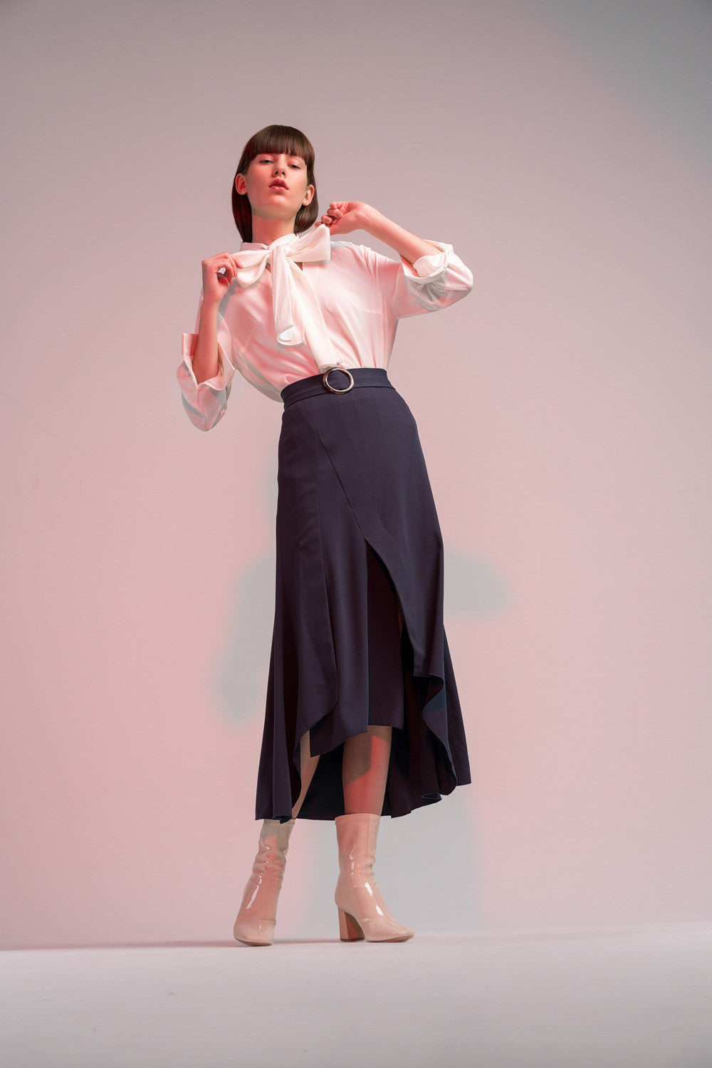 High Low Skirt with Belt