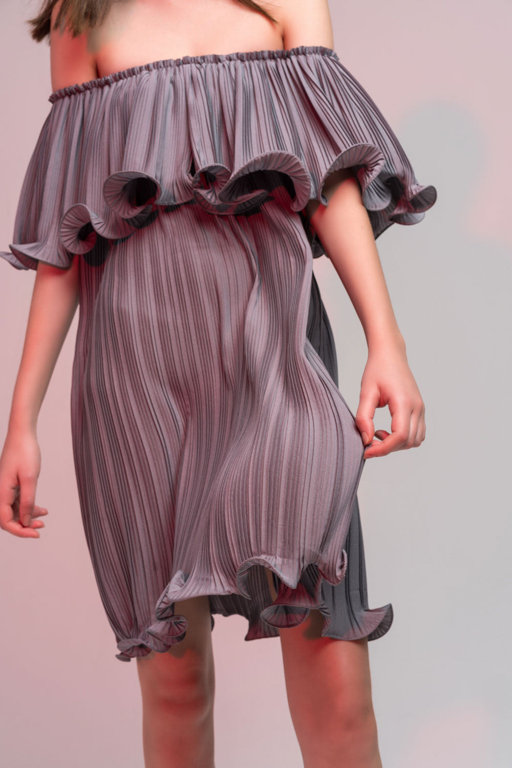 Off-Shoulder Pleated Ruffle Dress
