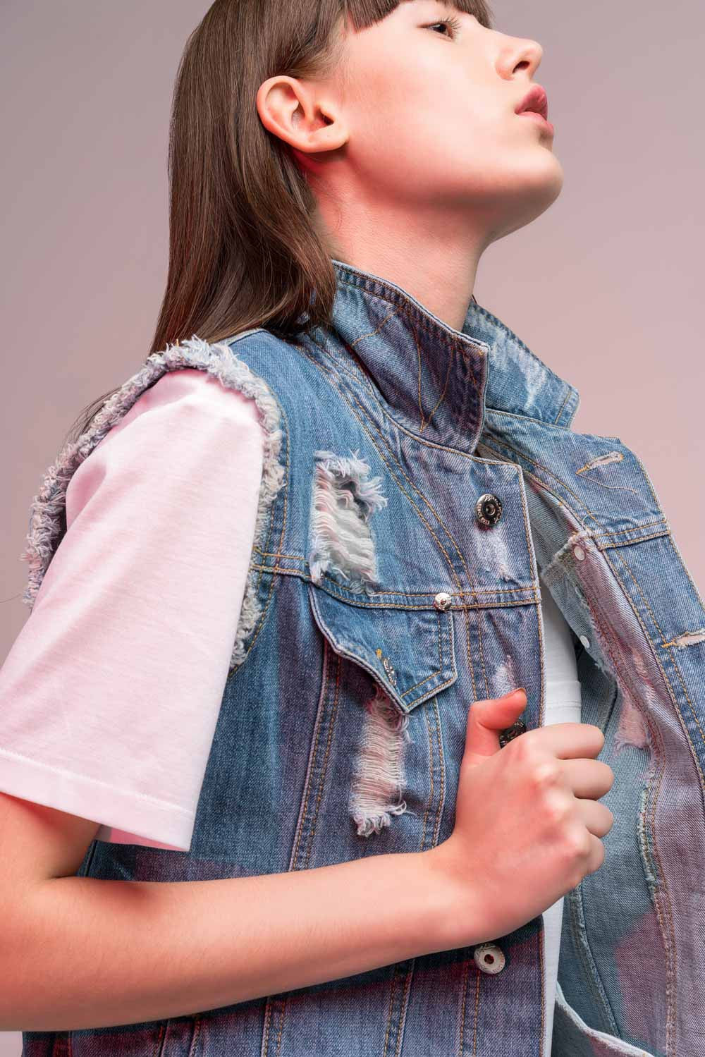 Open Back Denim Vest
