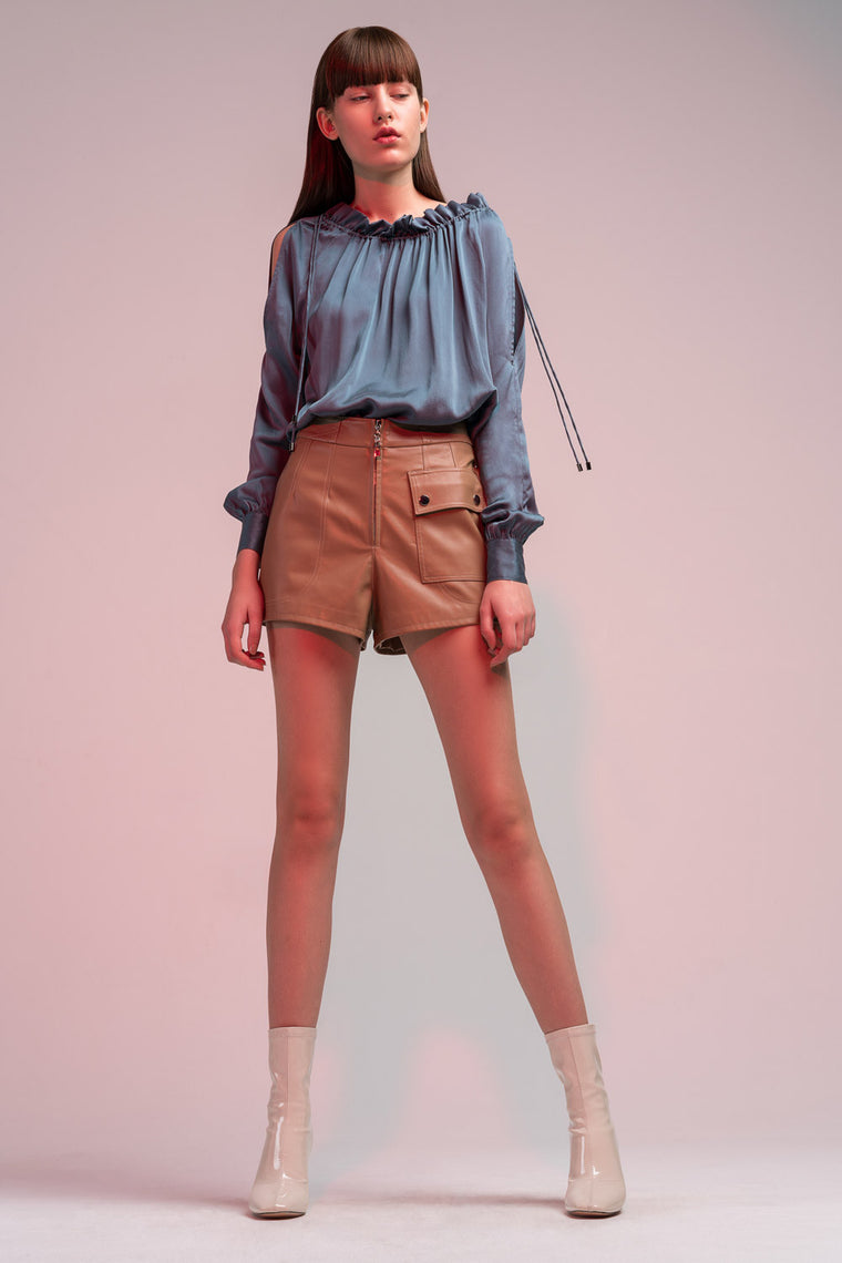 High Rise Faux Leather Shorts