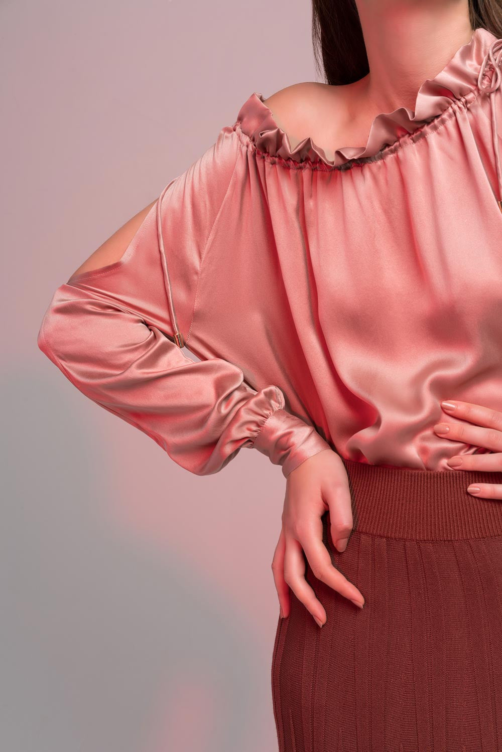 Dusty Pink Ruffle Blouse