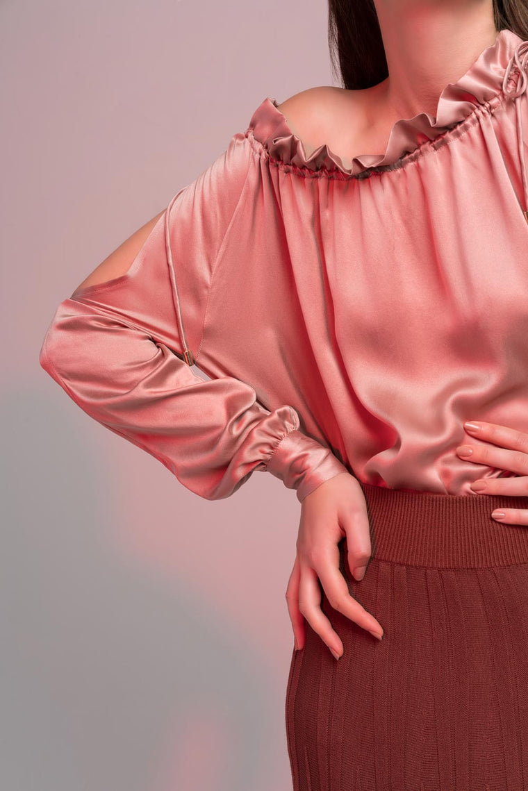 Fine Silk Ruffle Off-Shoulder Blouse
