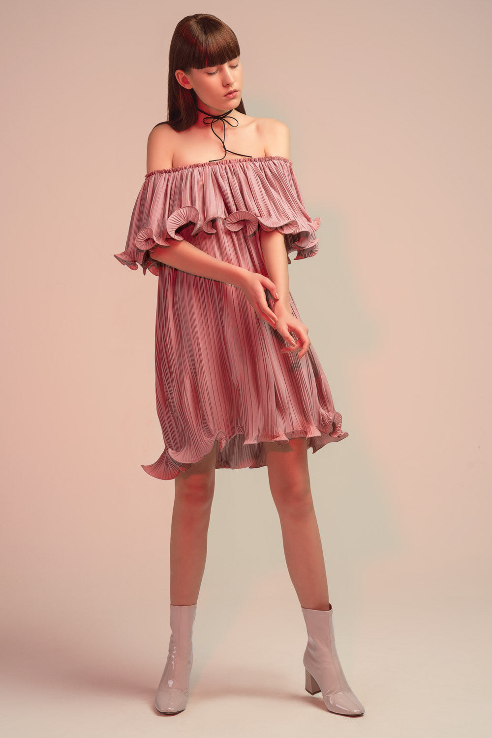 Pleated Off-Shoulder Midi Dress