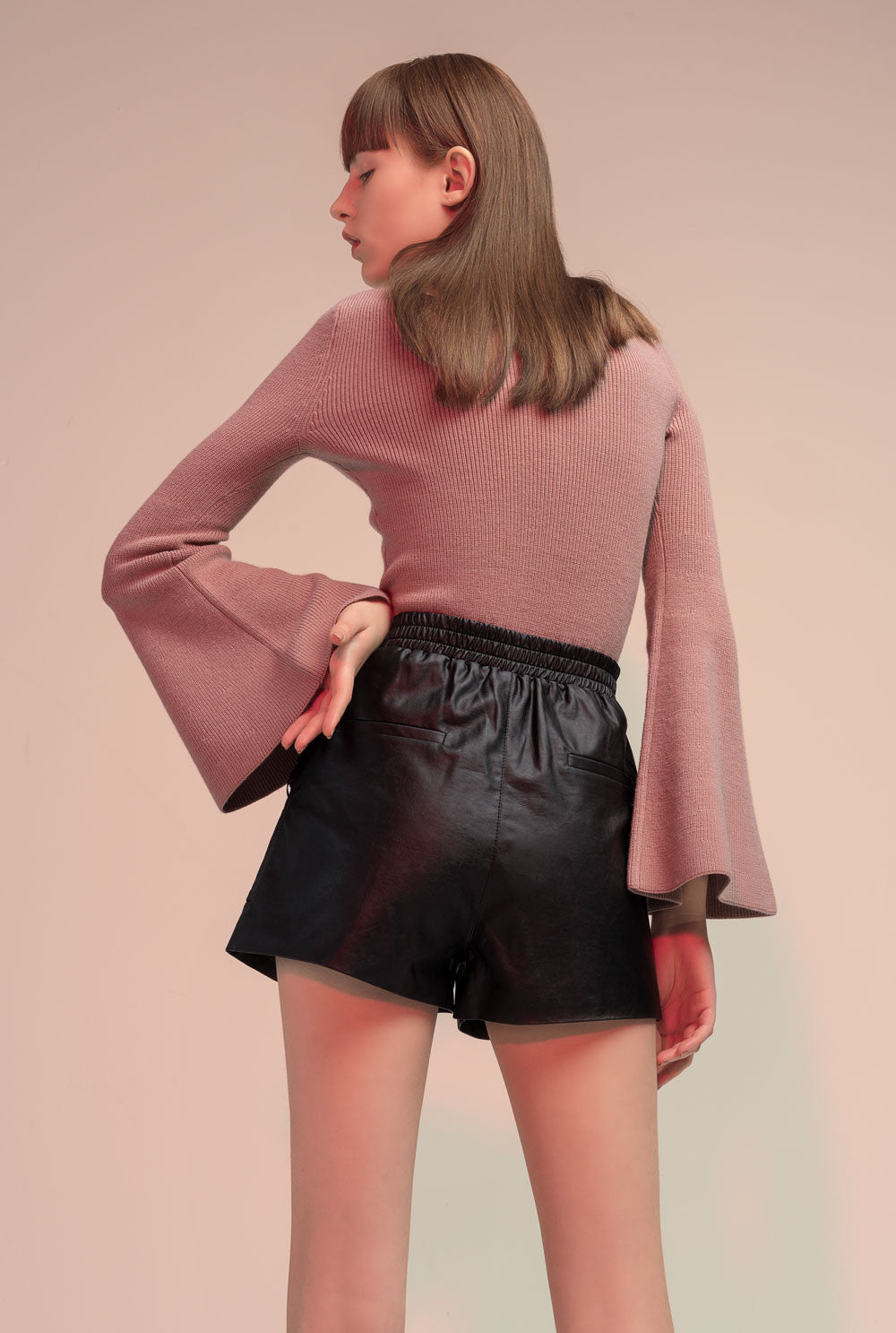 Black Stretch Faux Leather Shorts